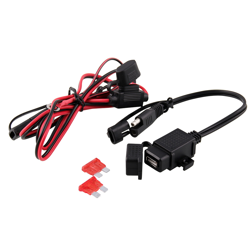 Waterproof Motorcycle 12V SAE to USB Phone GPS Charger Quick Connector Cable Adapter Inline Fuse