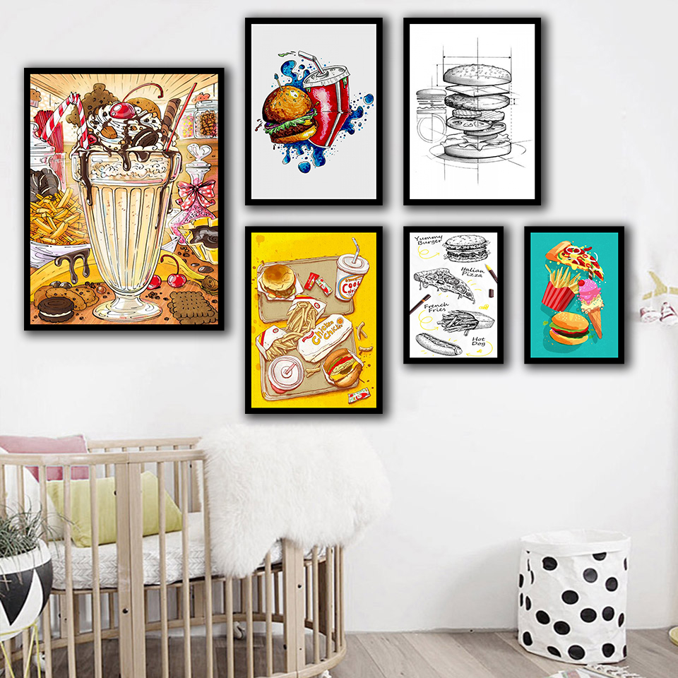 Nordic-Printed-Posters-Style-Home-Wall-Art-Food-Hamburg-Coke-Pizza-Painting-Canvas-Kitchen-Decoration-Modern