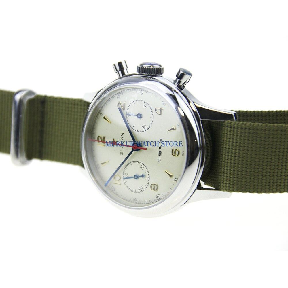 Saphir rouge étoile mécanique chronographe pour mouette 1963 ST1901 mouvement hommes pilote montre Flieger B UHR remontage à la main militaire - 5