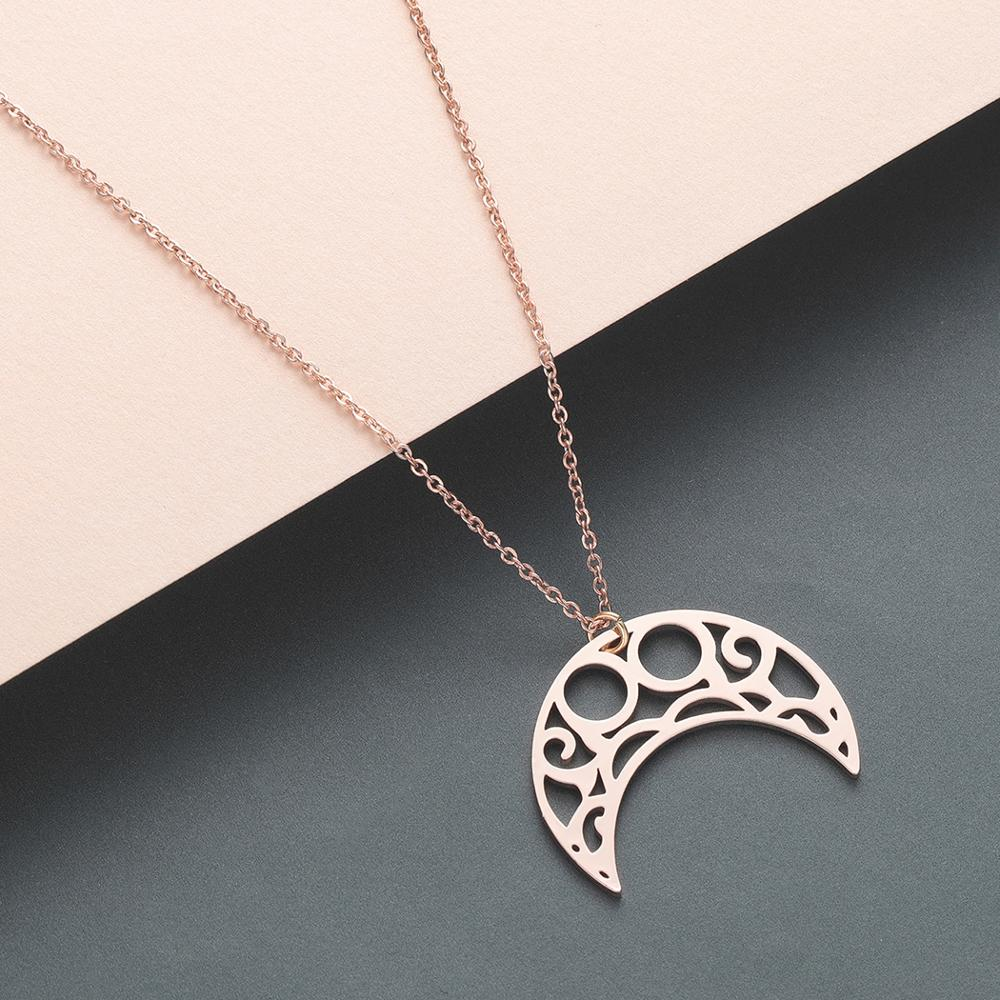 Todorova Stainless Steel Mens Necklace Night Sky Crescent Moon Star Dog Tag Pendant Necklaces for Women Islamic Muslim Jewelry