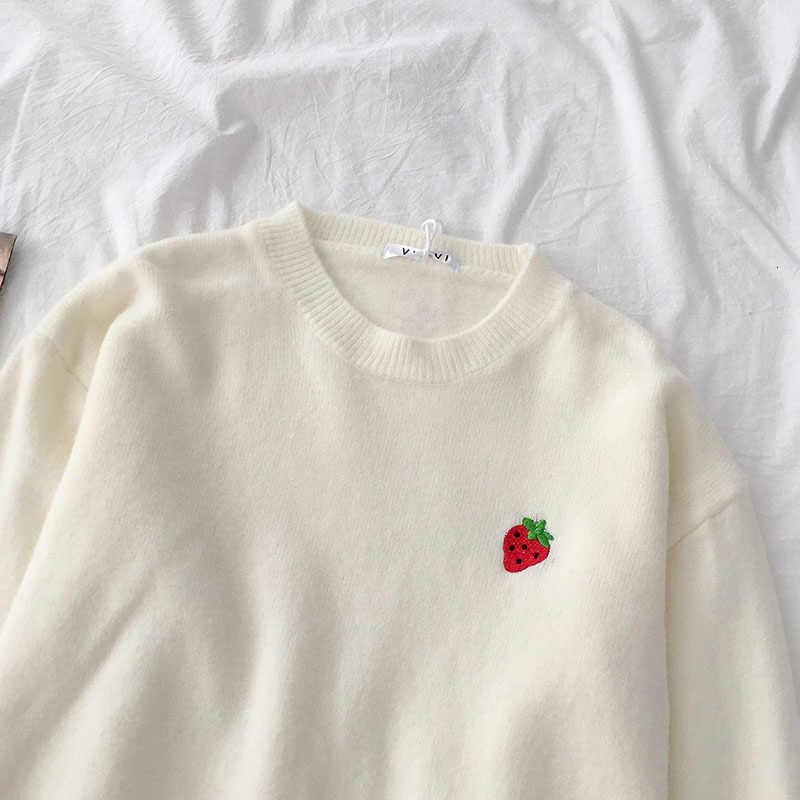 Obst Stickerei Pullover Frauen Student Herbst 2019 Lose Oversize Langarm Pullover Weibliche Gelb Weiß Koreanische Tops