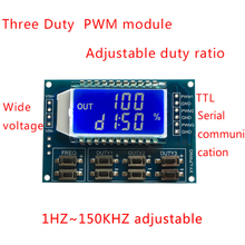Signal Generator PWM Pulse Frequency Duty Cycle Adjustable Module LCD Display 1Hz-150Khz 3.3V-30V 3 Channel