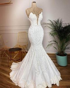 Image 1 - Robe De mariée style sirène, robe De mariée Sexy Vintage en dentelle, décolleté en V plongeant, dos nu, perles, robe De mariée, Gelinlik