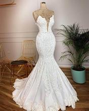 Vestidos De Novia 빈티지 레이스 인어 웨딩 드레스 섹시한 딥 브이 넥 백 레스 비즈 진주 웨딩 드레스 Gelinlik