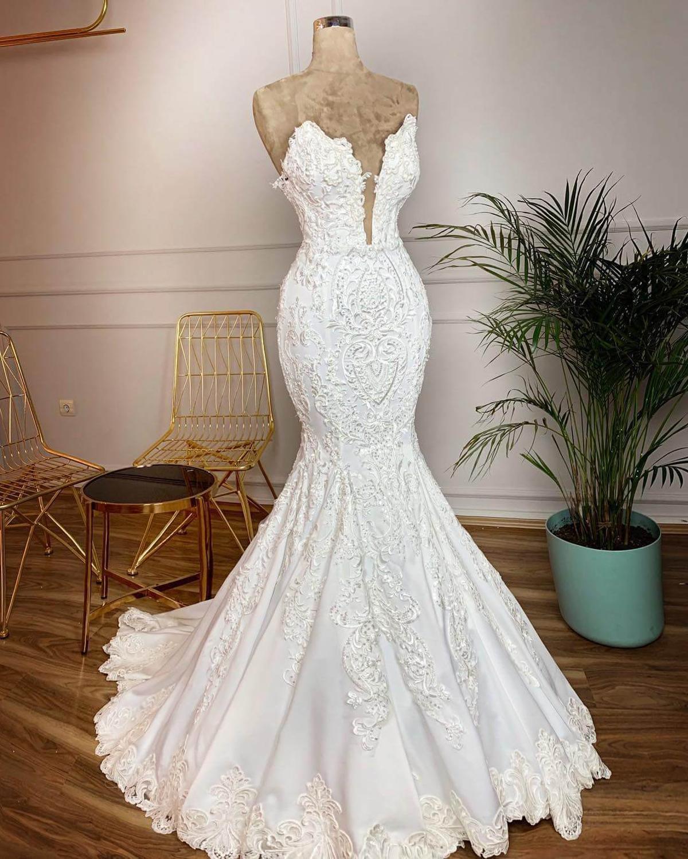 Vestidos De Novia Vintage Lace Mermaid Wedding Dress 2019 Sexy Deep V Neck Backless Wedding Gowns Gelinlik