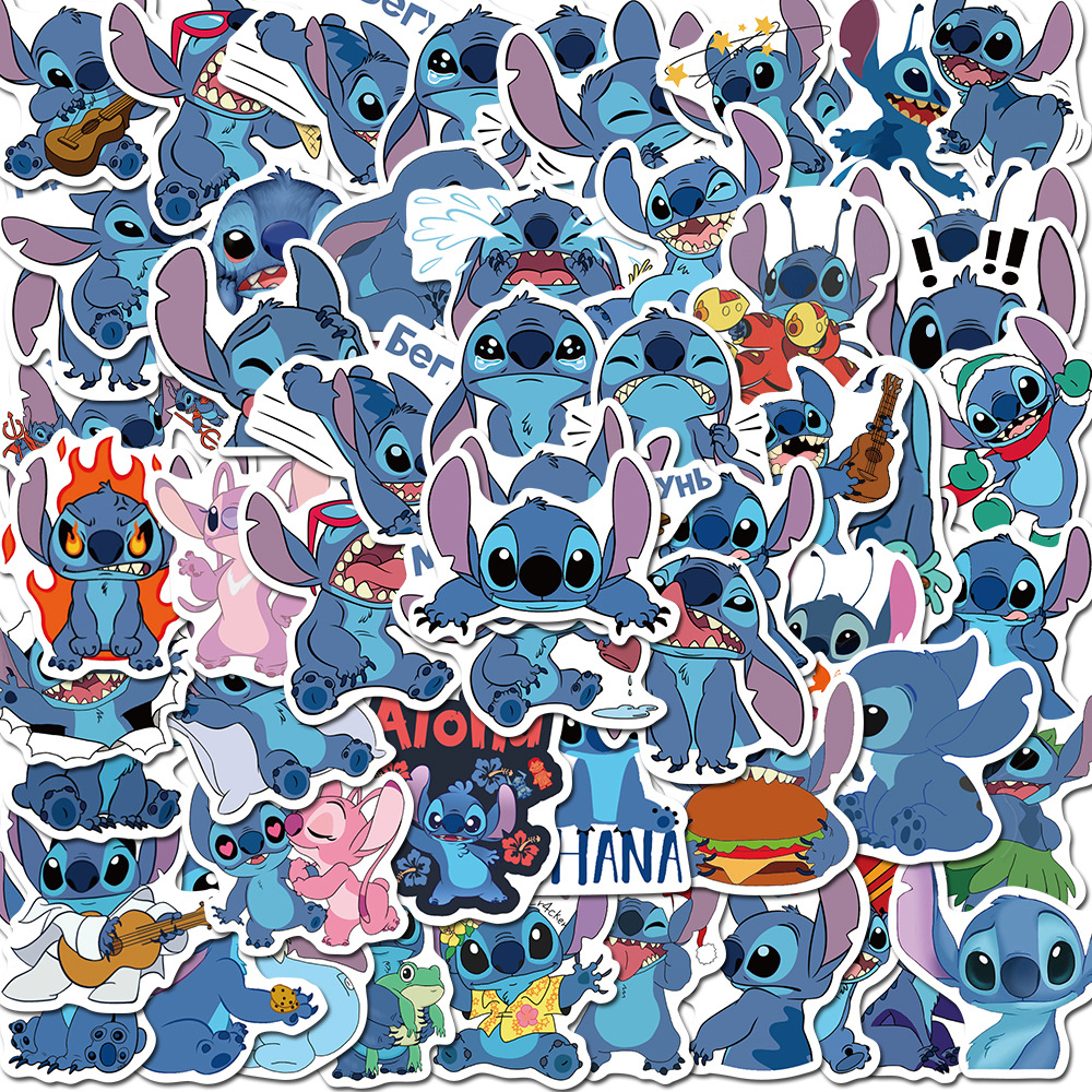 50PCS Cute Stitch Stickers Waterproof PVC For Car Helmet Motorcycle Bike Laptop Guitar Classic Toy Cartoon Stich Sticker