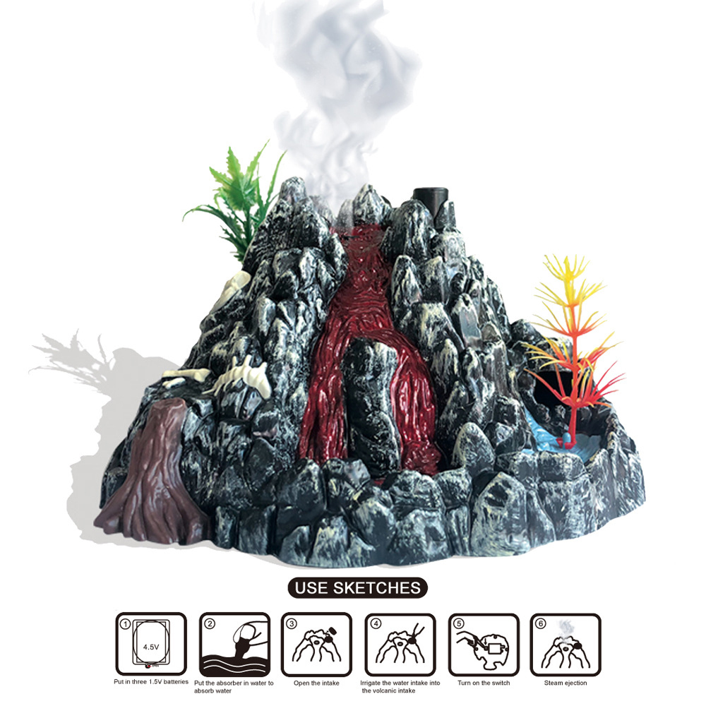 Boys Girls Educational Toys For Children Spray Volcano Model With Light Simulation Scene Experiment Action Toy Figure Kids Toys