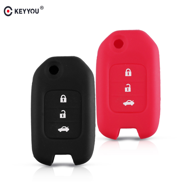 KEYYOU Key Cover Silicone Case For Accord Honda CRV Civic Jazz Crider HRV Car Remote 3 Buttons Folding Flip Fob Protector Case