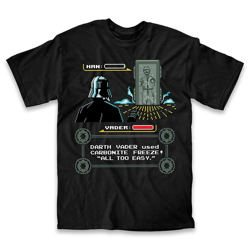 Star Wars Han Solo Video Game Pixel Carbonite Adult Mens Graphic T-Shirt Tee Fun Male Female Tee Shirt image