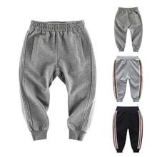 CALOFE-осенние штаны в полоску для мальчиков Леггинсы с карманами детские повседневные свободные брюки хлопковые школьные брюки для детей от 2 до 10 лет