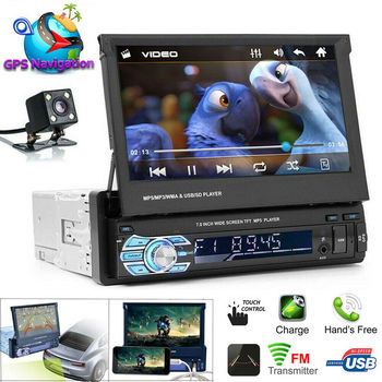 "Car 7"" Stereo Audio Radio Bluetooth 1 DIN HD Retractable Touch Screen Monitor MP5 Player SD FM USB Rear View Camera"