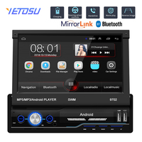 Autoradio 1 Din Android 7.1 Car Radio With Auto Retractable Screen Universal Radio Bluetooth Wifi Mirrorlink GPS Car multimedia