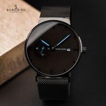 Роскошные мужские часы BOBO BIRD, минималистичный черный дизайн, сетчатый ремешок из нержавеющей стали, отображение даты