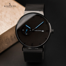 Relogio Masculino Bobo Bird Luxe Mannen Horloge Minimalistische Zwart Design Rvs Mesh Band Datumweergave Geschenken Aangepaste Logo