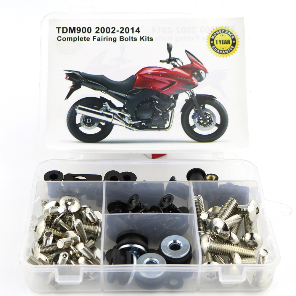 Для Yamaha TDM900 TDM 900 2002- мотоцикл сталь Полный Обтекатель Болты комплект обтекатель зажимы тела винты гайки OEM стиль - Цвет: Silver
