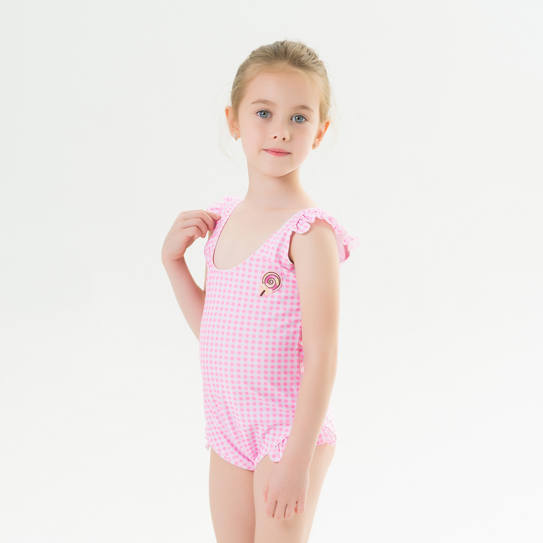 Batch New Style Children Lattice Baby Bathing Suit KID'S Swimwear One-piece Europe And America GIRL'S Tour Bathing Suit
