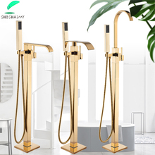 Bathtub Faucet Floor SHBSHAIMY Taps Handshower Hot-And-Cold-Water-Mixer Golden with Two-Function