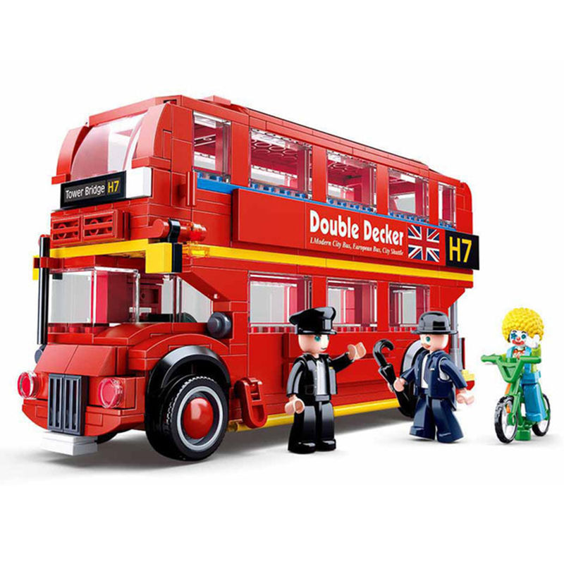Legoingly Accumulation Model King London School Bus Model Assembled Building Blocks Children's Birthday Christmas Gift Toys