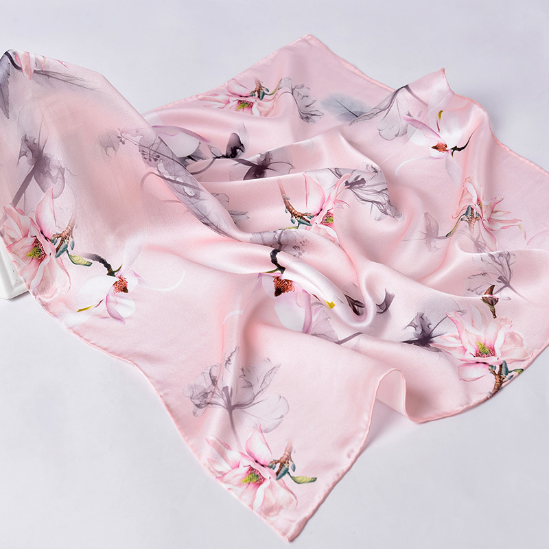 Floral-Print Silk Satin Hijab