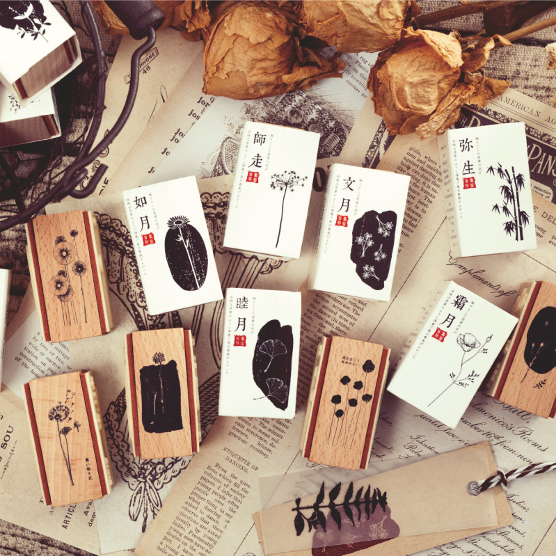 Retro Vintage Floral Pattern Wooden Rubber Stamps Set Rectangle Diy Rubber Stamp Set For Card Making Scrapbooking