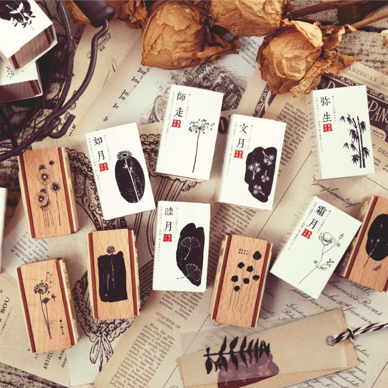 Retro Vintage Floral Pattern Wooden Rubber Stamps Set Rectangle Diy Rubber Stamp Set For Card Making Scrapbooking