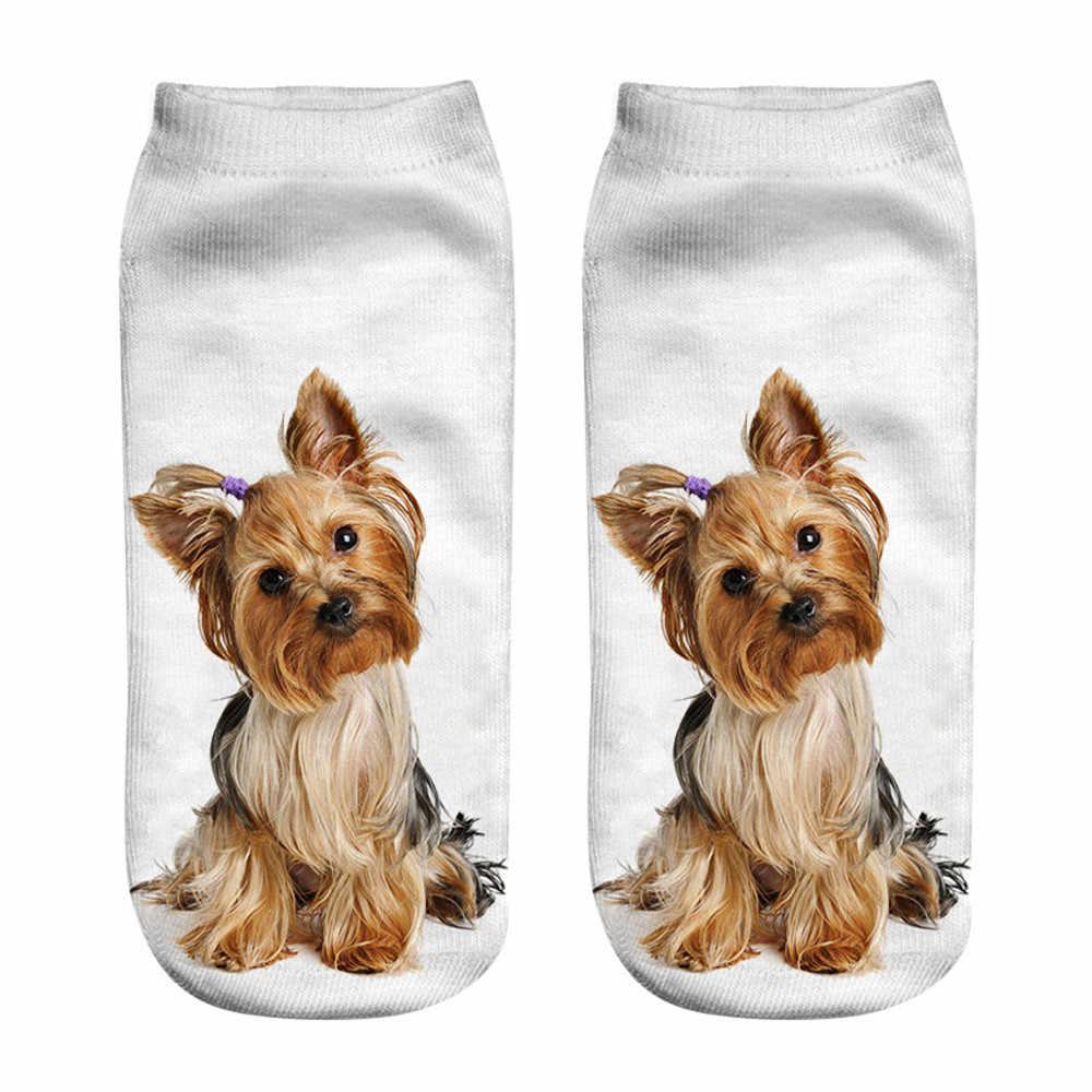 Unisex meias curtas de algodão respirável popular engraçado 3d cão impresso anklet meias casual baixo corte tornozelo meias