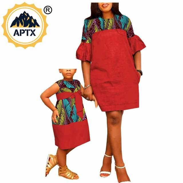 Африканская одежда для мамы и дочки подходящая Повседневное