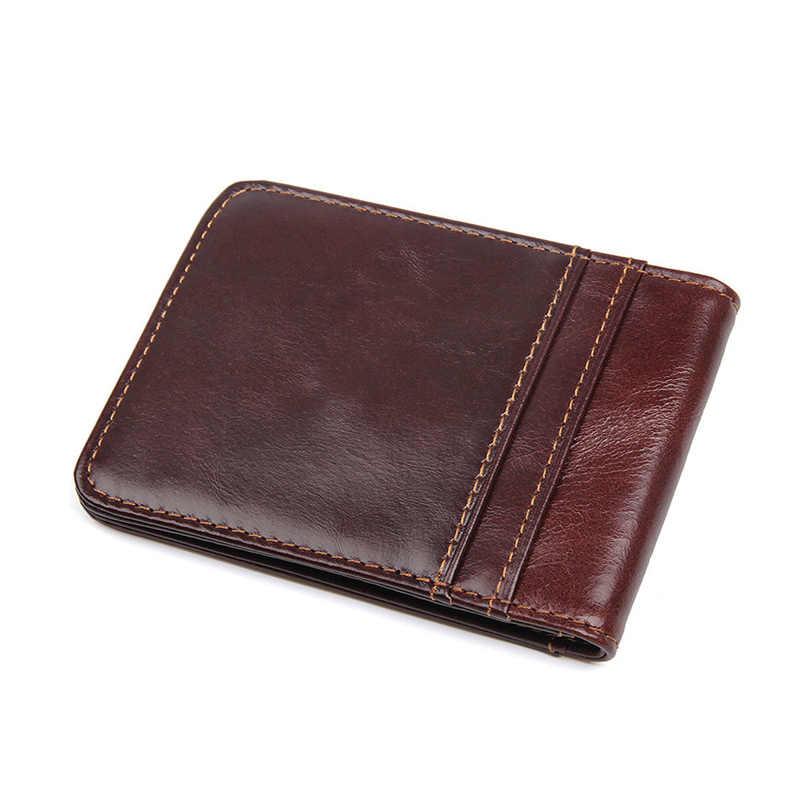 تتفاعل جلد طبيعي الدولار بيل المال كليب المحفظة Moneyclip الحد الأدنى محفظة بطاقات الائتمان للمال