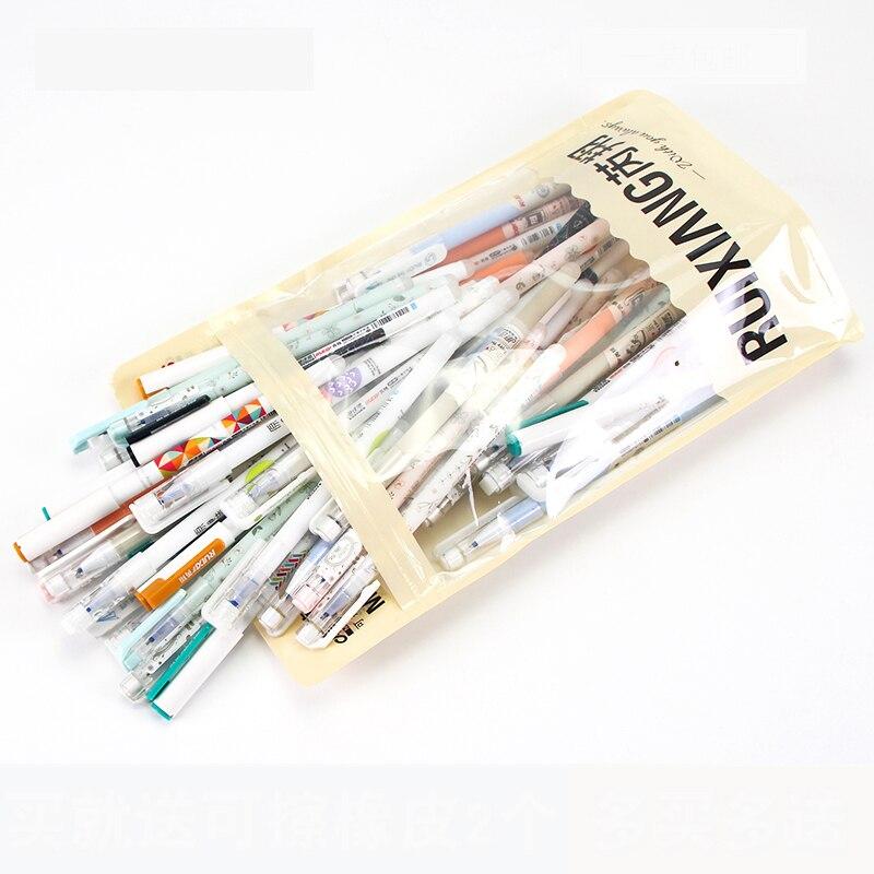Image 3 - 50pcs/bag Erasable Gel Pens Korean Kawaii Stationery 0.5mm Blue Gel Ink Unisex Pen for Student School Supples Ruixiang M 50-in Gel Pens from Office & School Supplies