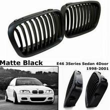 Для B-MW 1998-2001 E46 318I 320I 325I 330I новая Замена почек двойная планка матовый черный гоночный гриль Передняя решетка автомобиля