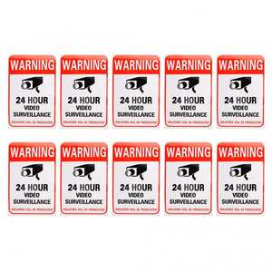 Stickers Video-Surveillance Warning-Sign 10pcs 24-Hour Decal Sign-Video Adhesive Security