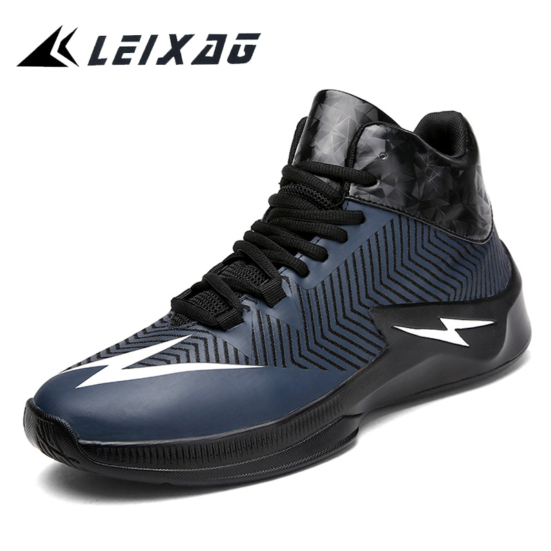 LEIXAG Men Basketball Shoes Air cushion Sport Shoes High Top Breathable Trainers Leather Basketball Shoes Outdoor