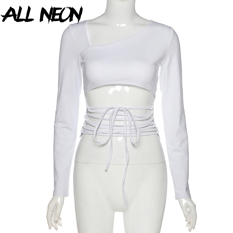 Allneon Front-Crop-Tops T-Shirts Collar White Tops Lace-Up 90s Long-Sleeve E-Girl-Style