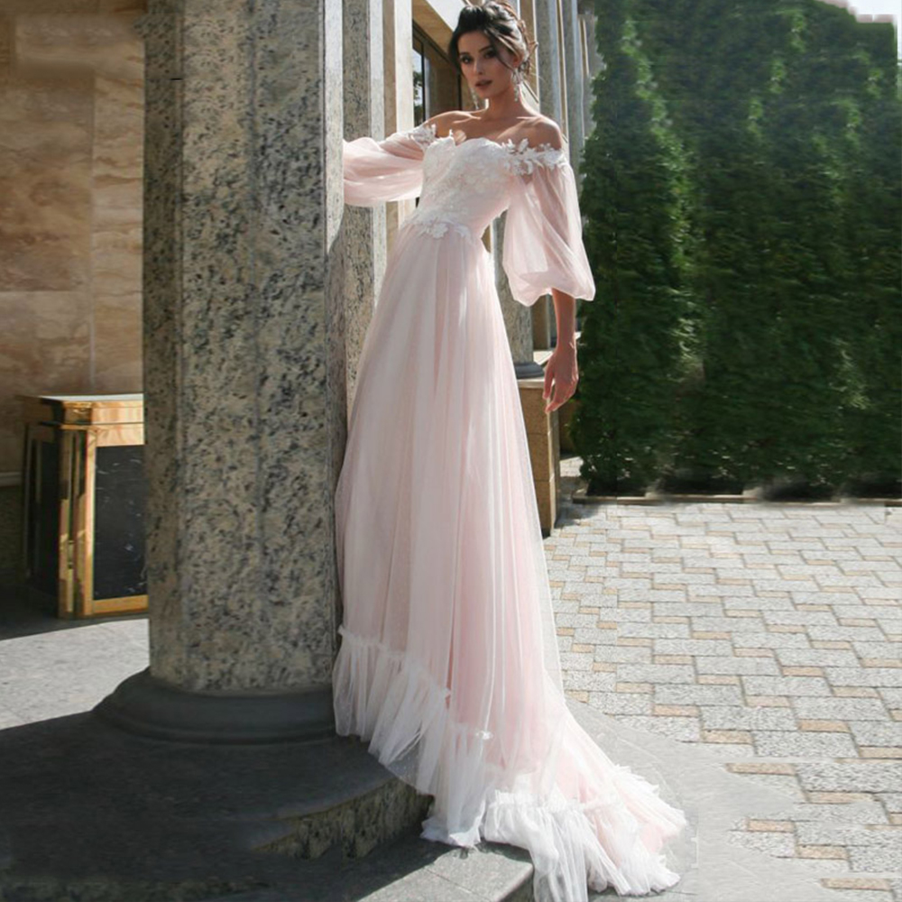 Booma Off Shoulder Boho Wedding Dresses Lace Appliqued Soft Dot Half Sleeve Tulle Beach Birde Gowns Lacing Princess Party Dress
