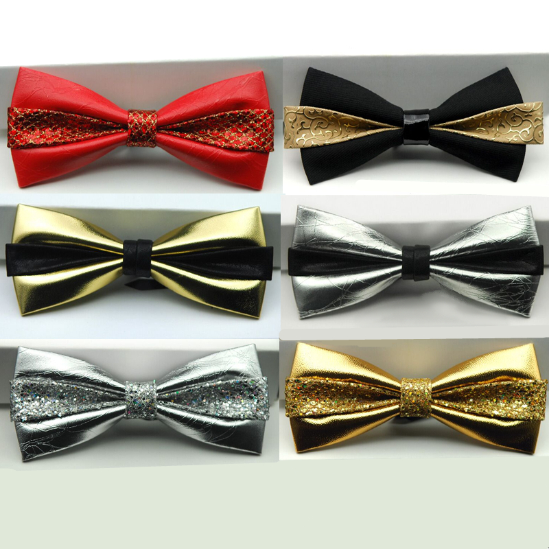 Mens Bow Tie Formal Dress 12cm Leather Tie Groom Gold Diamond Crystal Gem Bow Ties Wedding Red Bowtie Women Noeud Papillon Homme
