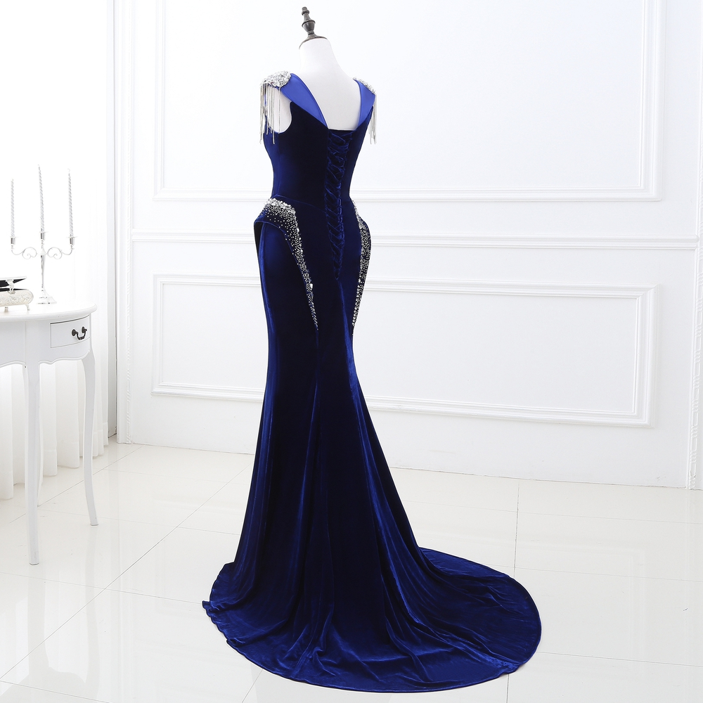 Elegant Royal Blue Evening Gown with Beads Sequin Mermaid Prom Party Bridesmaids Gown Formal Dress