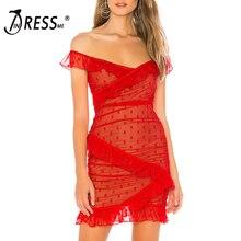 INDRESSME, женское платье с v-образным вырезом, с открытыми плечами, с каскадными рюшами, Драпированное, в горошек, Бандажное, вечерние, элегантное, Мини Длина, женское платье, Vestido