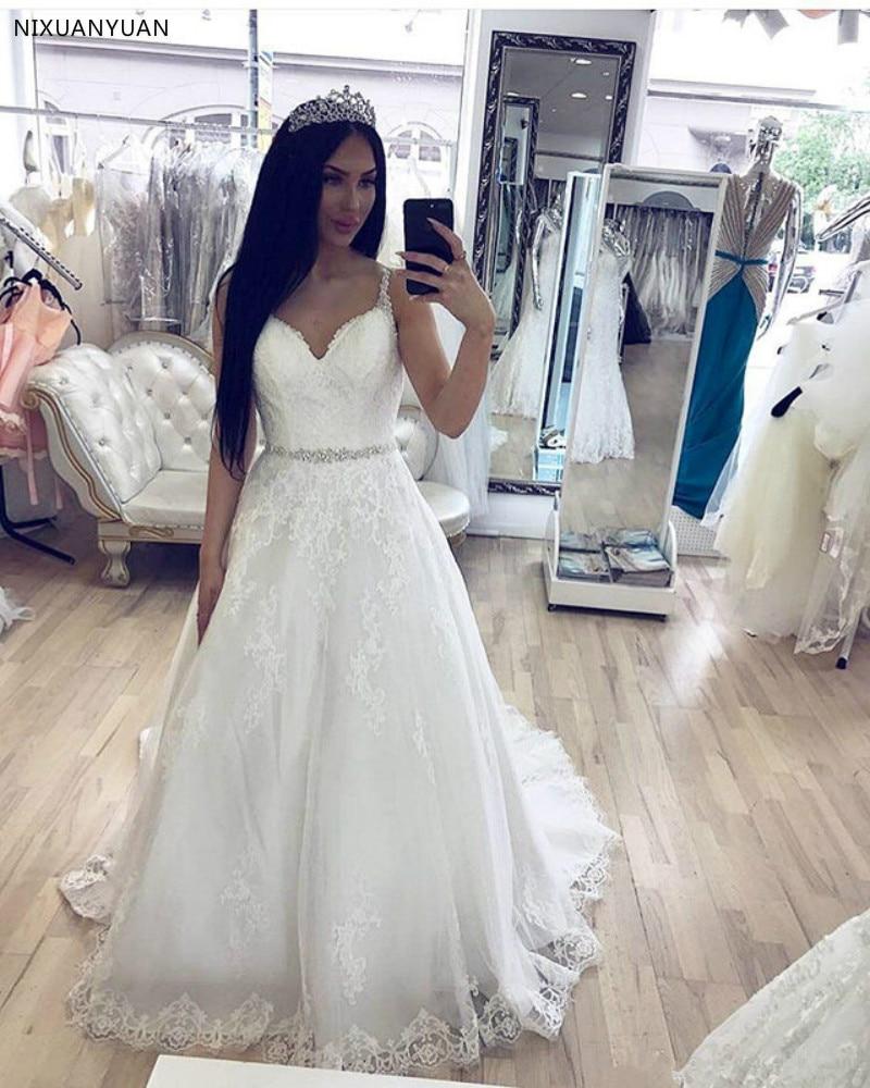 Vestidos De Novia Spaghetti Straps Lace Wedding Dresses Beaded Appliques Wedding Gowns Elegant Bride Dresses Robe De Mariee