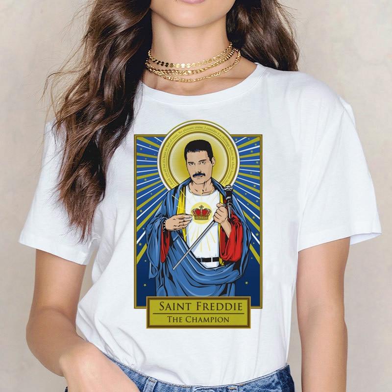 Aesthetic Freddie Mercury Women T Shirt Harajuku Hip Hop Short Sleeved Ulzzang Queen Band Summer Casual Female Graphic Tops Tees