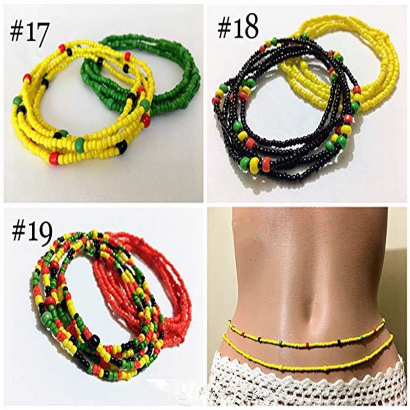 multicolor triple strand twist african waist bead