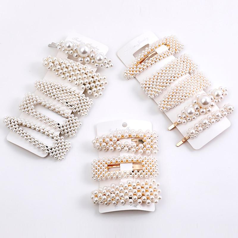 5PC / Fashion Lady Pearl Hair Clip Snap Hair Clip Girl Pearl Hair Clip Hair Clip Set Female Hair Clip Jewelry Hair Clip