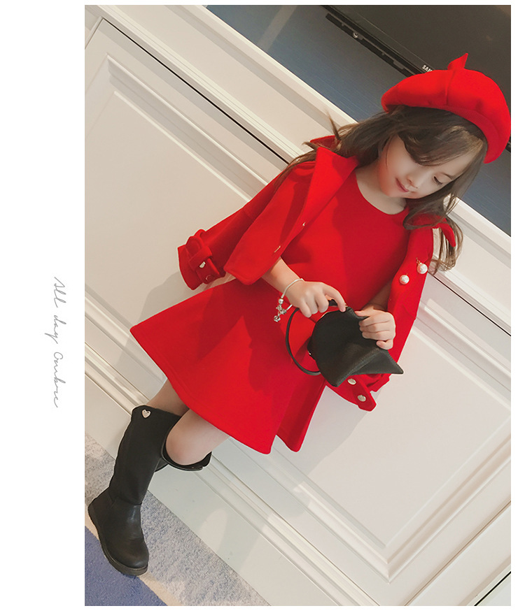 Children Girls Clothing Girls Winter Clothes 2019 Winter Baby Girls Warm Sleeveless Vest Dress +Woolen Jacket Coat 3PCS Sets (10)