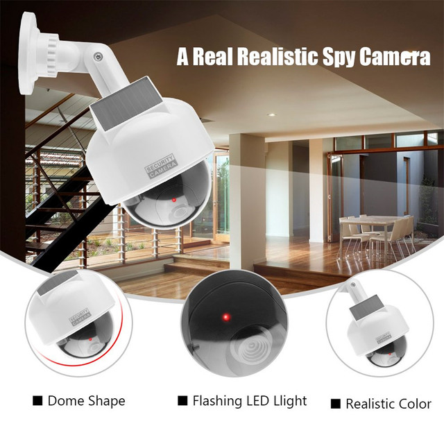 cctv dummy camera fake solar power video surveillance outdoor flashing red led Simulation ptz battery security dome dummy cam 4