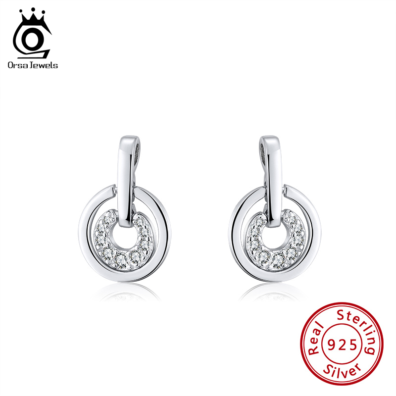ORSA JEWELS Newest 925 Sterling Silver Stud Earrings Double Round Combine Small Charming Top AAAA CZ Earrings Fine Jewelry SE269