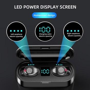 New f9 wireless headphones bluetooth 5.0 earphone tws hifi mini in-ear sports running headset support ios/android phones hd call