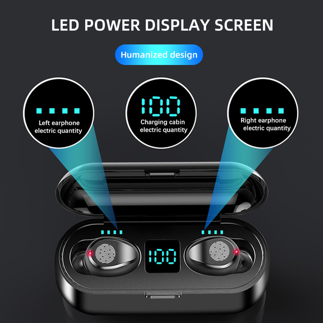 Nowe słuchawki bezprzewodowe F9 Bluetooth 5.0 słuchawki TWS HIFI Mini słuchawki douszne sportowe wsparcie iOS/telefony z androidem HD Call