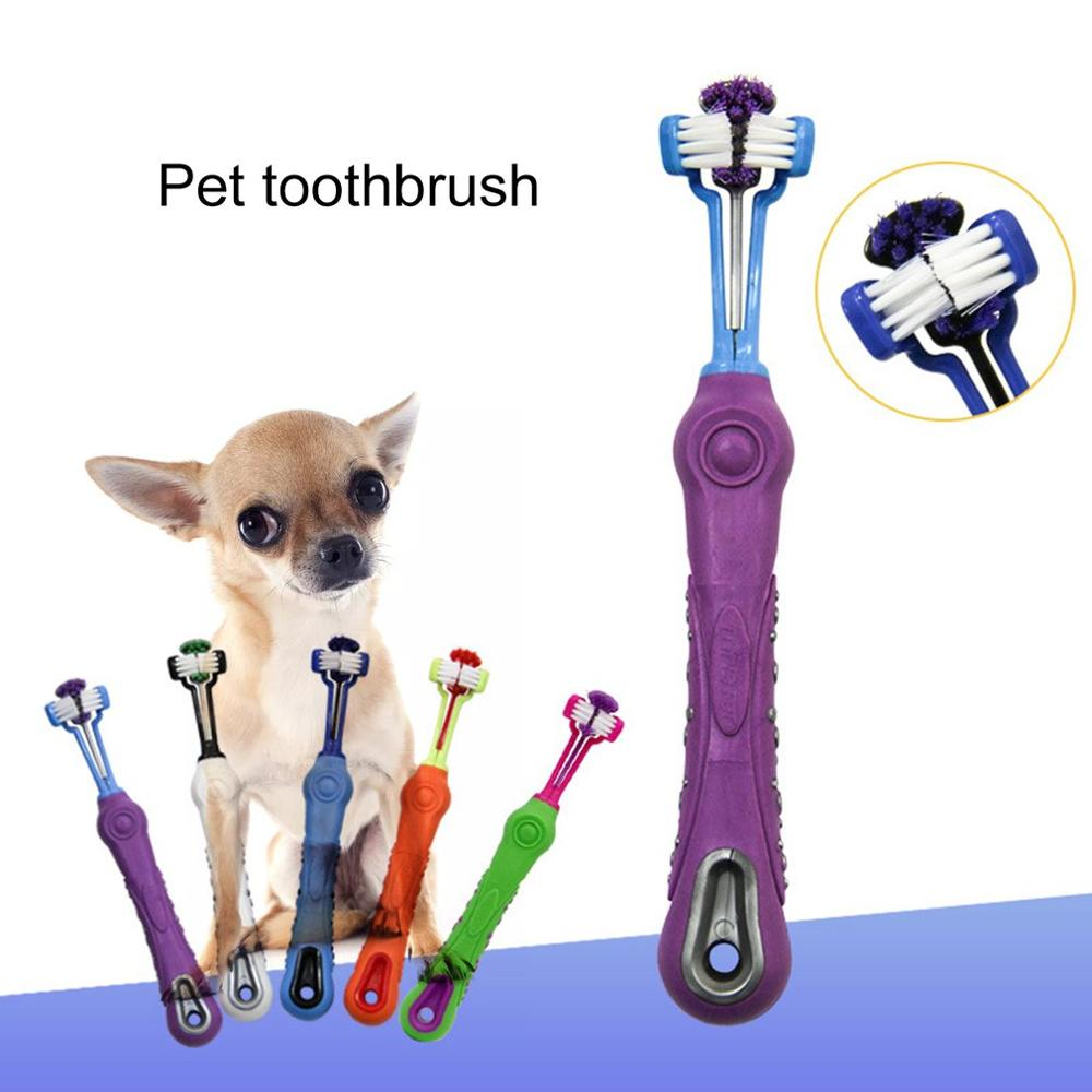Hot Sale Non-slip Soft Three Sided Pet Toothbrush Cat Dog Toothbrush Bad Breath Tartar Teeth Care Cleaning Brush Mouth For Dogs