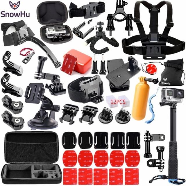 SnowHu Per Gopro accessori set per go pro eroe 8 7 6 5 4 kit 3 modo selfie stick per eken h8r/per xiaomi per yi caso di EVA GS98