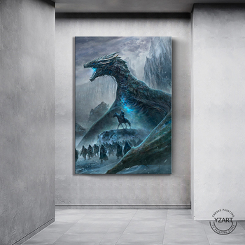 1pcs HD Fantasy Art Dragon Picture Game of Thrones Night King The White Walkers Legion GOT Movie Poster Canvas Painting Wall Art