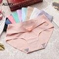 Женские шелковые трусики ALLMIX, бесшовные однотонные трусики с заниженной талией, модные мягкие женские трусики с низкой посадкой